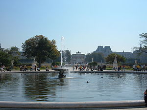 The pond in the Tuileries Garden in Paris, France.