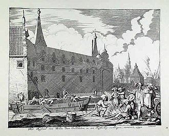 Jan Luyken - Jan Luyken's print of the peat boat used as a ruse by the Dutch to gain possession of Breda from the Spanish in 1590