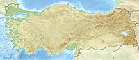 Turkey, with Istanbul pinpointed at the northwest along a thin strip of land bounded by water