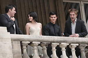 Chick flick - The 2008 drama/romance film Twilight was a blockbuster success. (Pictured on the right are the film's stars Kristen Stewart, Taylor Lautner and Robert Pattinson.)