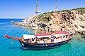 Two-masted ship at Kleftiko on Milos Island, Greece.jpg