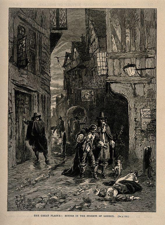 Londres en 1665 lorsque la peste s'abat sur la ville.