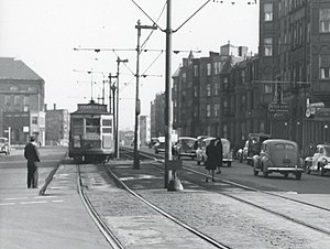Brigham Circle (MBTA station) - A streetcar at Brigham Circle station in 1943