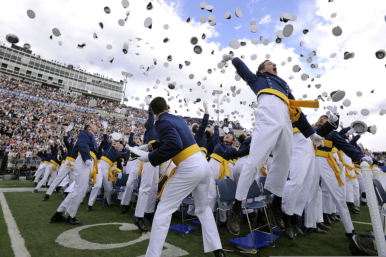 Air Force Graduation >> File:U.S. Air Force Academy Class of 2013 cadets toss hats in the air during a graduation ...