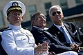 U.S. Navy Adm. Mike Mullen, chairman of the Joint Chiefs of Staff, Defense Secretary Leon E. Panetta and Vice President Joe Biden watch the laying of memorial wreaths at the Pentagon 9-11 observance ceremony.jpg