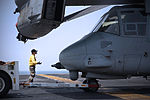 U.S. Navy Aviation Boatswain's Mate (Handling) 2nd Class Lili Xie directs a Marine Corps MV-22 Osprey tiltrotor aircraft on the flight deck of the amphibious assault ship USS Kearsarge (LHD 3) in the Gulf 130807-N-RL456-057.jpg