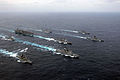 U.S. Navy Ships assigned to Nimitz Class Aircraft Carrier USS Ronald Reagan (CVN 76) Carrier Strike Group, sail with Japanese Maritime Self Defense Force ships, during a photo exercise while underway in the 070318-N-HX866-342.jpg