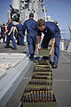 U.S. Sailors prepare ammunition for a live-fire training exercise aboard the guided missile destroyer USS Jason Dunham (DDG 109) Aug. 28, 2012, in the Mediterranean Sea 120828-N-XQ375-221.jpg