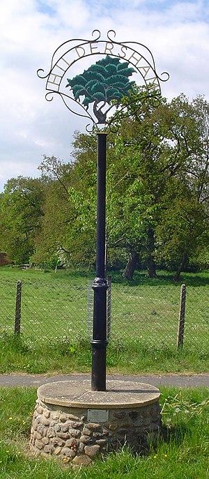 Hildersham - Signpost in Hildersham