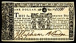 Maryland colonial currency, 1 dollar, 1770 (obverse)