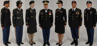 "Army Service Uniform - U.S. Army soldiers modelling the class ""A"" service uniform in 2008."