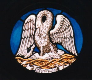 Pelican stained-glass window, First Congregati...