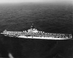 USS Boxer (CVA-21) celebrating 75,000 aircraft landings in November 1955 (NH 97283).jpg