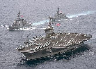 Maritime call sign - USS Carl Vinson and JDS Ashigara displaying signal flags showing callsigns NCVV and JSRA, respectively