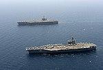 USS GHW Bush (CVN-77) and USS Harry S. Truman (CVN-75) in the Arabian Sea in March 2014.JPG
