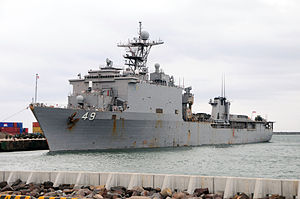 USS Harpers Ferry (LSD-49) arrives in Akita, Japan, 19 March 2011.