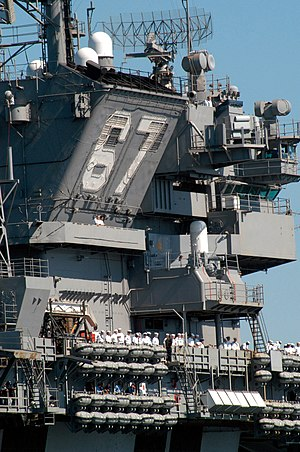 Kitty Hawk-class aircraft carrier - Image: USS John F Kennedy (CV 67) island outboard 2004