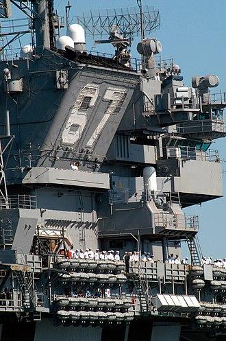 Kitty Hawk-class aircraft carrier - Image: USS John F Kennedy (CV 67) island outboard 2004