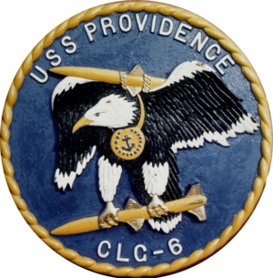 USS Providence (CL-82) - Image: USS Providence (CLG 6) insignia 1960 (NH 102467 KN)