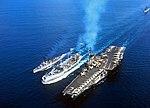 USS Tolovana (AO-64) refueling FD Roosevelt (CVA-42) and Black (DD-666) off Vietnam 1966.jpg