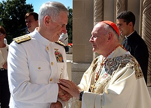 Theodore Edgar McCarrick - Cardinal McCarrick greeting Admiral William Fallon at a September 11th memorial mass in Washington, D.C.