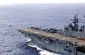 US Navy 030127-N-1352S-007 An AV-8B Harrier launches from the flight deck of the amphibious assault ship USS Bonhomme Richard (LHD 6).jpg