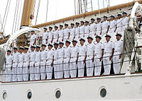 US Navy 040518-N-9662L-023 Chilean crew members aboard the training ship Esmeralda (BE 43) sing the Chilean Navy Helm.jpg