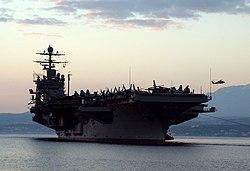 US Navy 060222-N-0780F-005 The Nimitz-class aircraft carrier USS Theodore Roosevelt (CVN 71) arrives for a logistics stop on the Greek island of Crete.jpg
