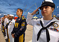 US Navy 070504-N-5345W-276 Navy Counselor 2nd Class Trina Norman and other recruiters from Recruiting District Richmond stand side-by-side.jpg