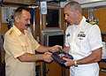 US Navy 070822-N-5268S-002 Fleet Adm. Vladimir Vasilyevich Masorin, Commander in Chief of the Russian Federation Navy, presents a Russian submariner insignia to Cmdr. Troy Jackson, commanding officer of USS Norfolk (SSN 714), d.jpg