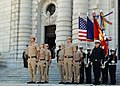 US Navy 071012-N-1194L-001 U.S. Naval Academy Brigade Staff and Color Guard stand in special formation on the steps of Bancroft Hall in honor of the 232nd birthday of the United States Navy.jpg
