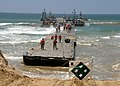 US Navy 080721-N-1424C-317 The Army Trident pier approaches Gold Beach during Joint Logistics Over-The-Shore (JLOTS) 2008.jpg