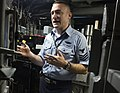US Navy 090108-N-3333H-003 Machinist's Mate 1st Class Steven Hurt explains his job as the leading petty officer of the weapons department of the Virginia-class attack submarine USS Virginia (SSN 774).jpg