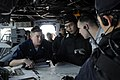 US Navy 090501-N-7280V-225 Quartermaster 3rd Class Philip Horsley explains the ships movement to members of the Japan Maritime Self-Defense Force aboard the amphibious command ship USS Blue Ridge (LCC 19) during an Exercise Mal.jpg