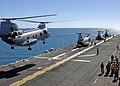 US Navy 090716-N-9950J-096 A CH-46E Sea Knight helicopter ands aboard Essex during a mock amphibious assault as part of exercise Talisman Saber 2009.jpg