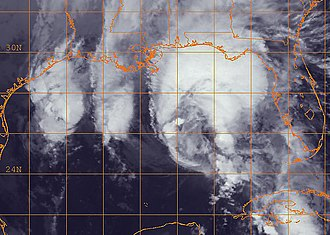 Hurricane Ida - Infrared satellite image of Tropical Storm Ida nearing the United States Gulf Coast, as it became extratropical