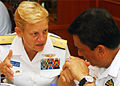 US Navy 100607-N-0995C-079 Rear Adm. Nora Tyson, commander of Task Force 73, talks with Vice Adm. Jamil Osman, Royal Malaysian Navy Joint Forces Commander, at the Cooperation Afloat Readiness and Training (CARAT) Malaysia 2010.jpg