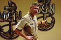US Navy 100729-N-9818V-058 Master Chief Petty Officer of the Navy (MCPON) Rick West addresses Class 154 at the Senior Enlisted Academy (SEA) during his visit to Naval Station Newport.jpg