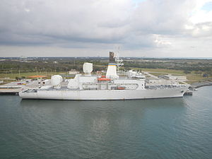 USNS Howard O. Lorenzen (T-AGM-25) - Lorenzen at Port Canaveral