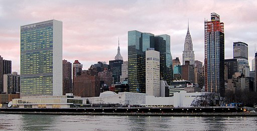 United Nations Headquarters in New York City, view from Roosevelt Iivsland