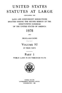 United States Statutes at Large Volume 92 Part 1.djvu