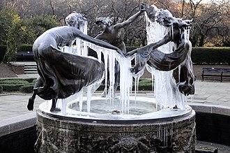 Conservatory Garden - Untermyer Fountain/Three Dancing Maidens by Walter Schott in the winter.