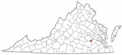Location of Ettrick, Virginia