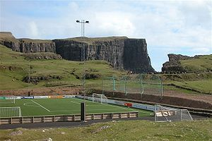 Vesturi á Eiðinum Stadium - Football stadium of FC Suðuroy on Eiðinum in Vágur