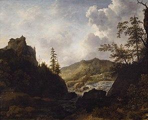 Paysage nordique avec un château sur une colline
