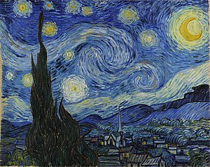 Where is the starry night painting on exhisit