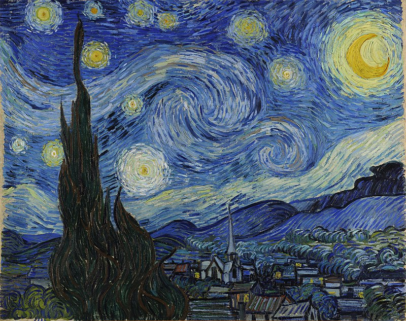 A landscape in which the starry night sky takes up two thirds of the picture. In the left foreground a dark pointed cypress tree extends from the bottom to the top of the picture. To the left, village houses and a church with a tall steeple are clustered at the foot of a mountain range. The sky is deep blue. In the upper right is a yellow crescent moon surrounded by a halo of light. There are many bright stars large and small, each surrounded by swirling halos. Across the centre of the sky the Milky Way is represented as a double swirling vortex.