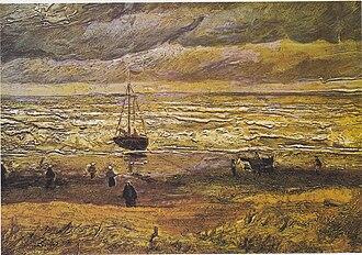 Early works of Vincent van Gogh - Beach at Scheveningen in Stormy Weather 1882 Van Gogh Museum, Amsterdam (F4)