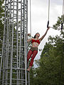 Vau de Vire Society - mounting trapeze - Bumbershoot 2007.jpg