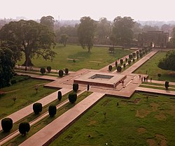 View from atop the left minaret - Tomb of Jahangir gardens.jpg